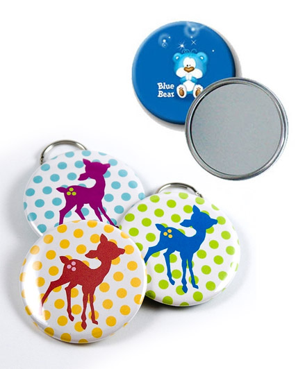 Badges with keyring and mirror