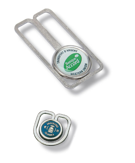 Clips de metal con adhesivo resinado