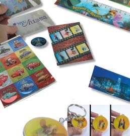 Adhesivos lenticulares con imágenes 3D