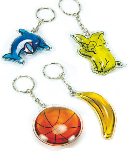 Keyrings with liquid