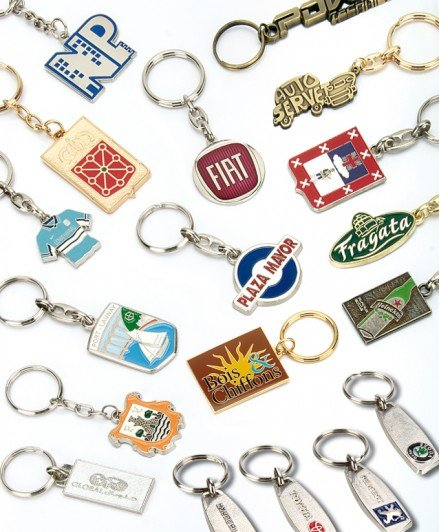 Metal keyrings, enameled
