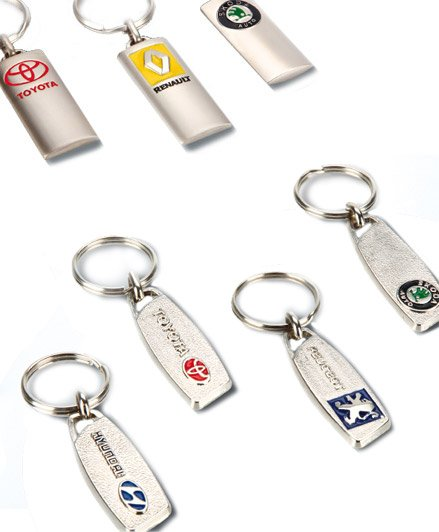 Metal keyrings, car brands