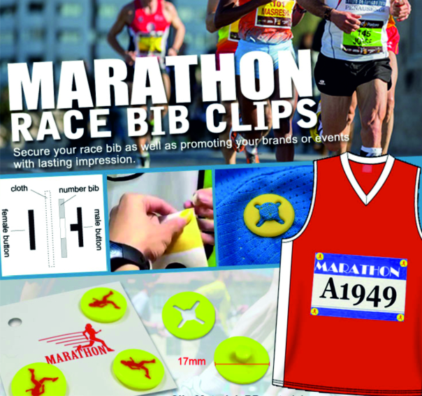 Race bib clips