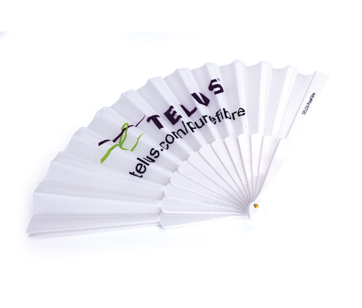 Plastic and fabric hand fans